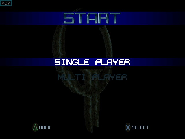 Menu screen of the game Quake II on Sony Playstation