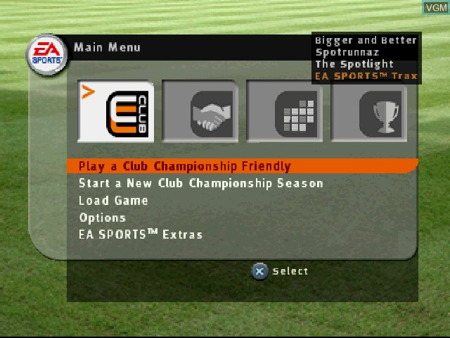 Menu screen of the game FIFA Football 2003 on Sony Playstation