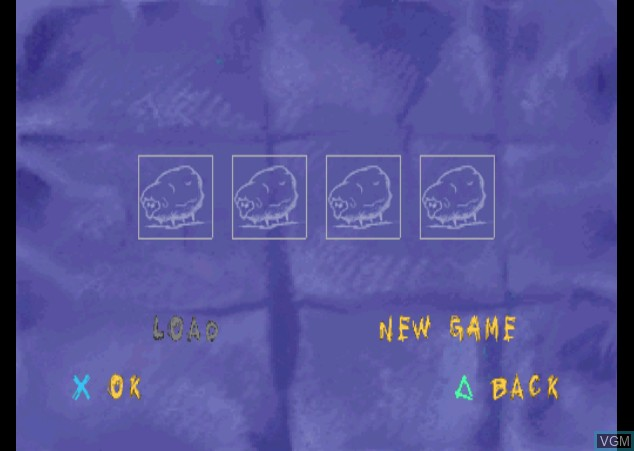 Menu screen of the game Sheep, Dog 'n' Wolf on Sony Playstation