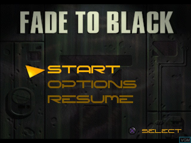 Menu screen of the game Fade to Black on Sony Playstation