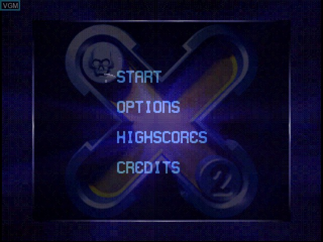 Menu screen of the game X2 - No Relief on Sony Playstation
