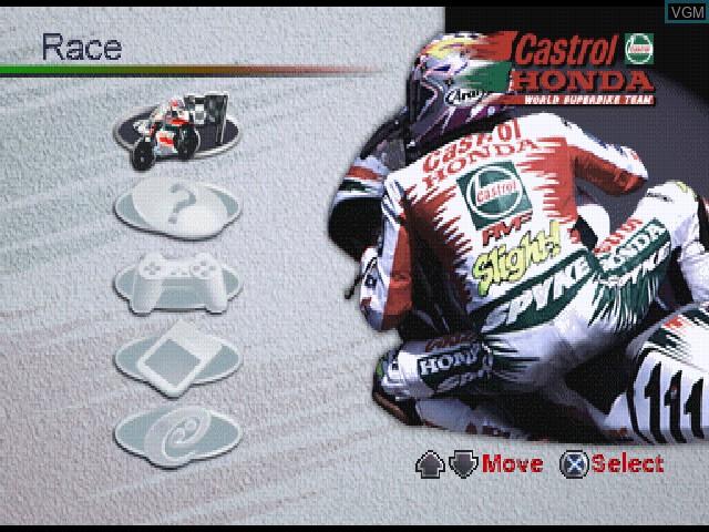 Menu screen of the game Castrol Honda Superbike Racing on Sony Playstation