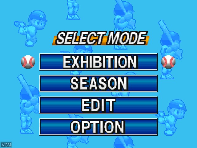 Menu screen of the game Big League Slugger Baseball on Sony Playstation