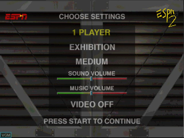 Menu screen of the game ESPN Extreme Games on Sony Playstation