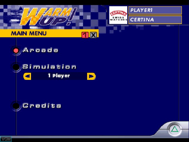 Menu screen of the game Warm Up! on Sony Playstation