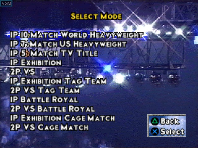 Menu screen of the game WCW-nWo Thunder on Sony Playstation