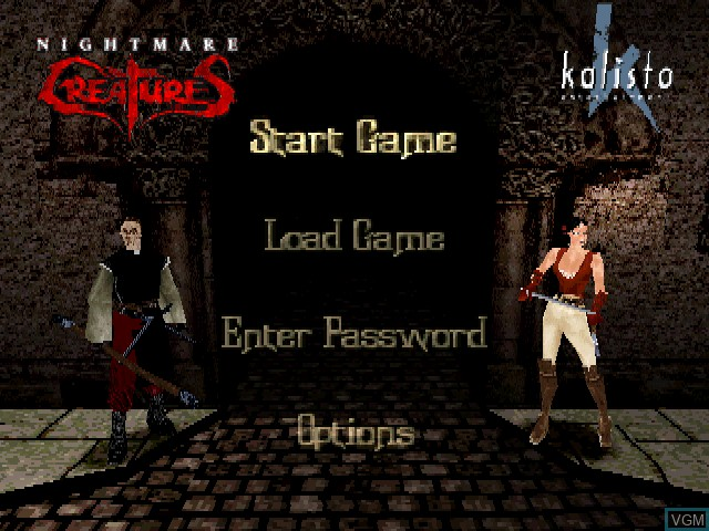 Menu screen of the game Nightmare Creatures on Sony Playstation