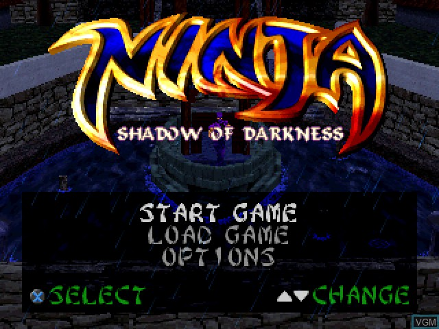 Menu screen of the game Ninja - Shadow of Darkness on Sony Playstation