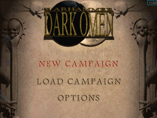 Menu screen of the game Warhammer - Dark Omen on Sony Playstation