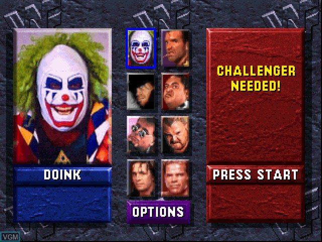 Menu screen of the game WWF WrestleMania - The Arcade Game on Sony Playstation