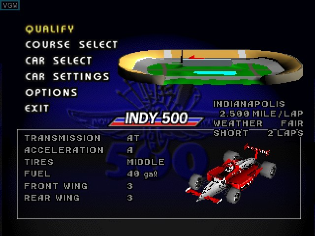 Menu screen of the game Indy 500 on Sony Playstation