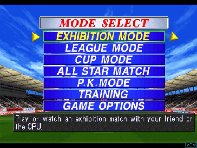 Menu screen of the game International Superstar Soccer Pro '98 on Sony Playstation