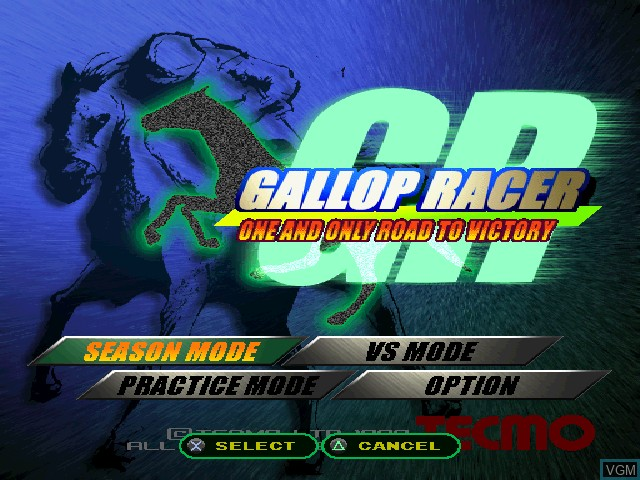 Menu screen of the game Gallop Racer on Sony Playstation