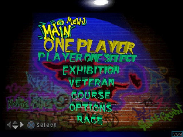 Menu screen of the game 2Xtreme on Sony Playstation
