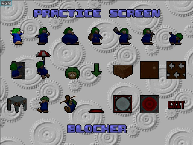 Menu screen of the game 3D Lemmings on Sony Playstation