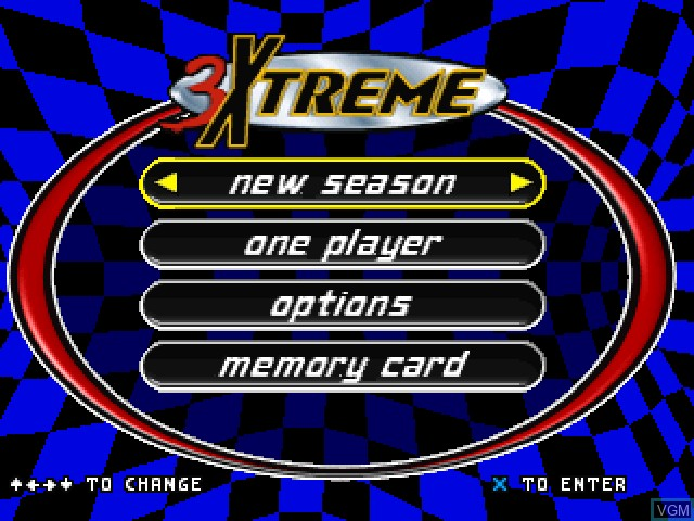 Menu screen of the game 3Xtreme on Sony Playstation