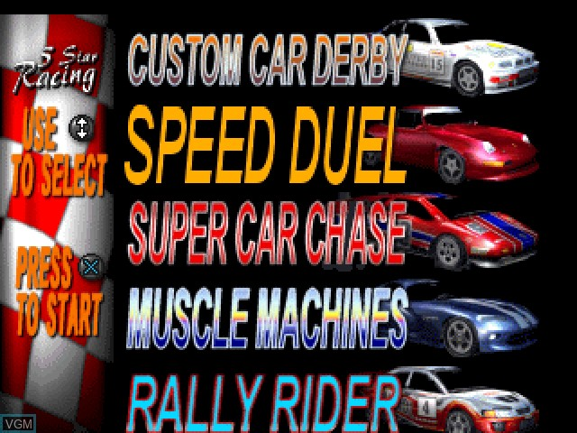 Menu screen of the game 5 Star Racing on Sony Playstation