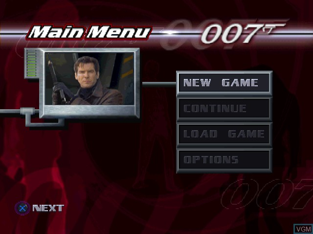 Menu screen of the game 007 - Tomorrow Never Dies on Sony Playstation