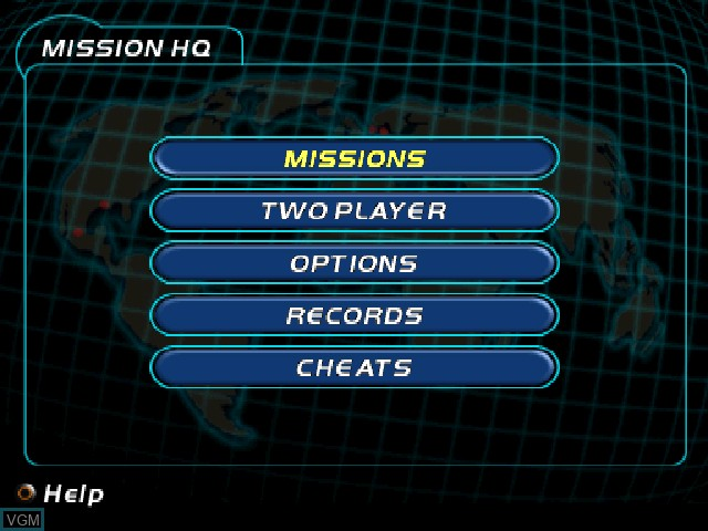 Menu screen of the game 007 Racing on Sony Playstation