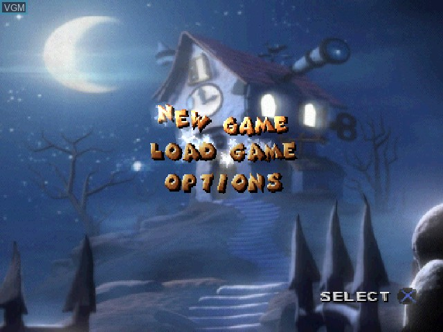 Menu screen of the game 40 Winks on Sony Playstation