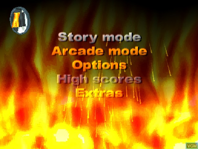 Menu screen of the game Action Man - Destruction X on Sony Playstation