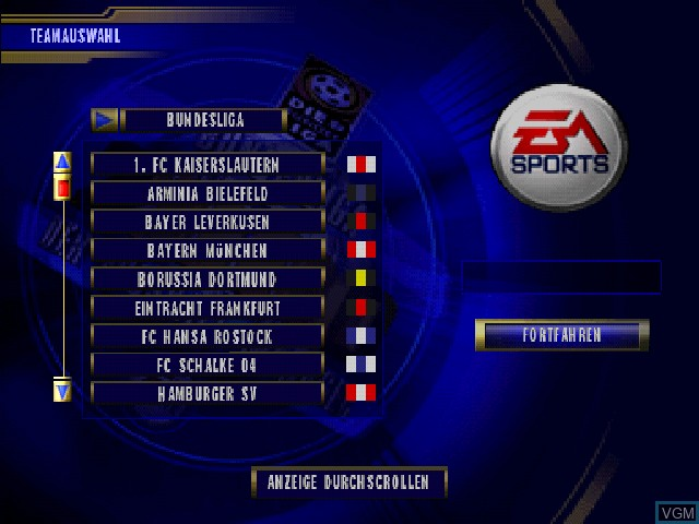 Menu screen of the game Bundesliga 2000 - Der Fussball-Manager on Sony Playstation