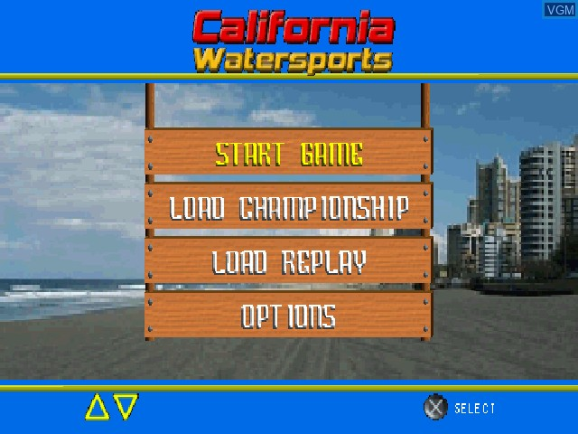Menu screen of the game California Watersports on Sony Playstation