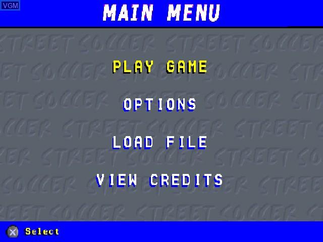 Menu screen of the game Chris Kamara's Street Soccer on Sony Playstation