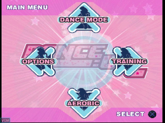 Menu screen of the game Dance - UK on Sony Playstation