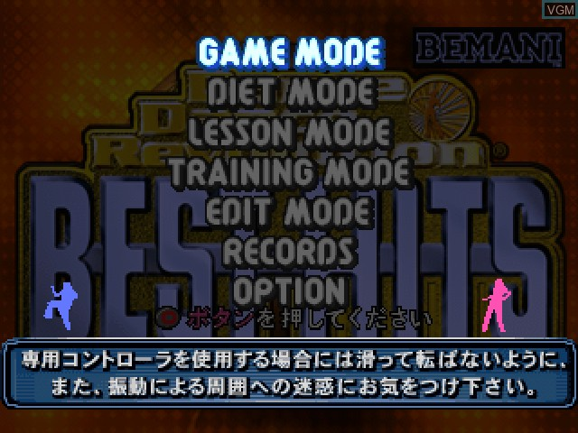 Menu screen of the game Dance Dance Revolution - Best Hits on Sony Playstation