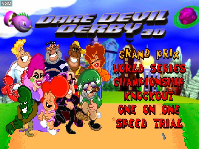 Menu screen of the game Dare Devil Derby 3D on Sony Playstation
