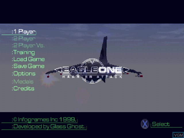 Menu screen of the game Eagle One - Harrier Attack on Sony Playstation