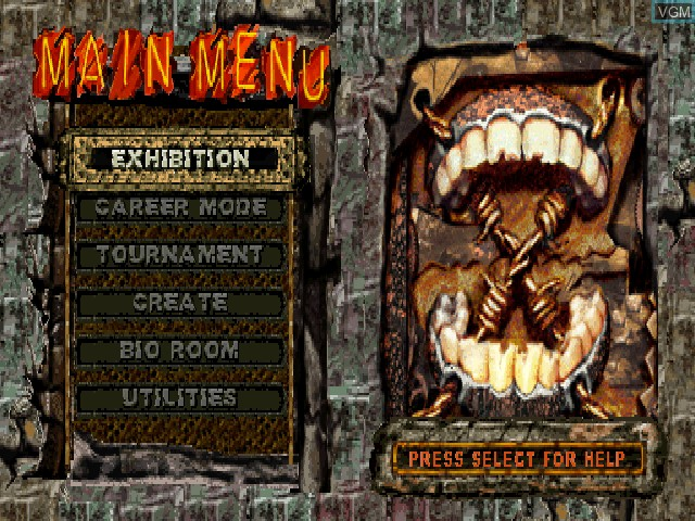 Menu screen of the game ECW Anarchy Rulz on Sony Playstation