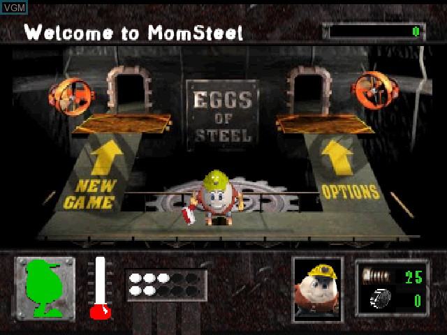 Menu screen of the game Eggs of Steel - Charlie's Eggcellent Adventure on Sony Playstation