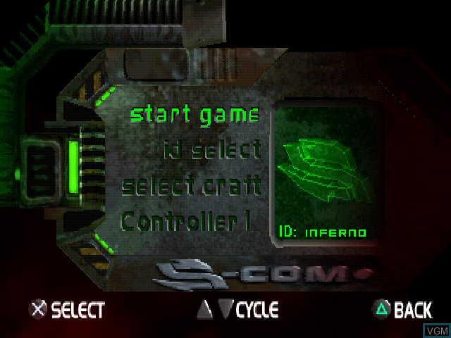 Menu screen of the game Eliminator on Sony Playstation