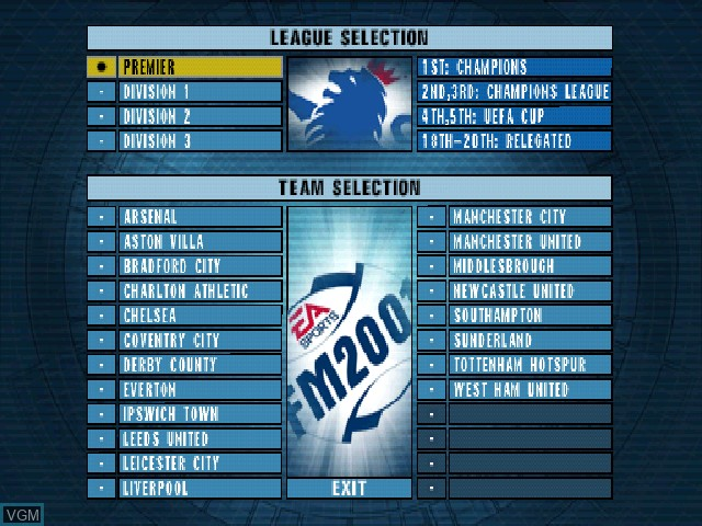 Menu screen of the game F.A. Premier League Football Manager 2001, The on Sony Playstation