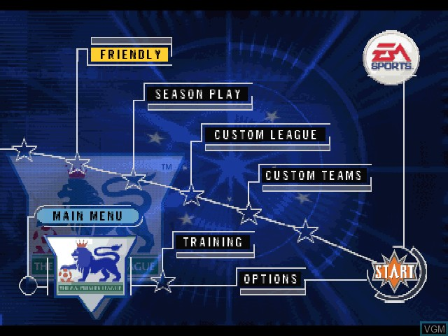 Menu screen of the game F.A. Premier League Stars, The on Sony Playstation