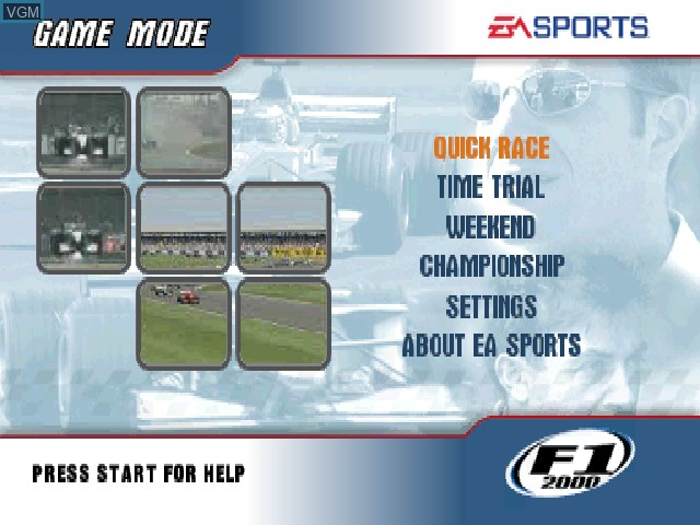 Menu screen of the game F1 2000 on Sony Playstation