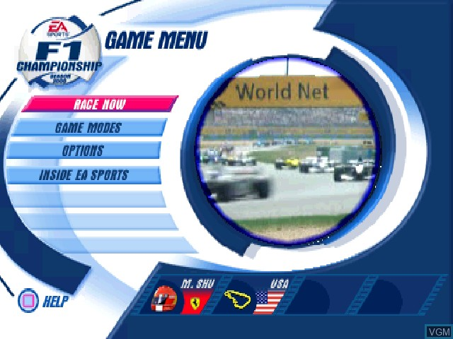 Menu screen of the game F1 Championship Season 2000 on Sony Playstation