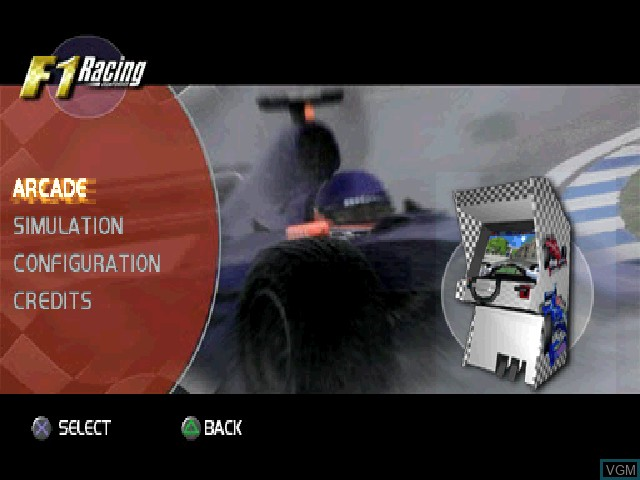 Menu screen of the game F1 Racing Championship on Sony Playstation