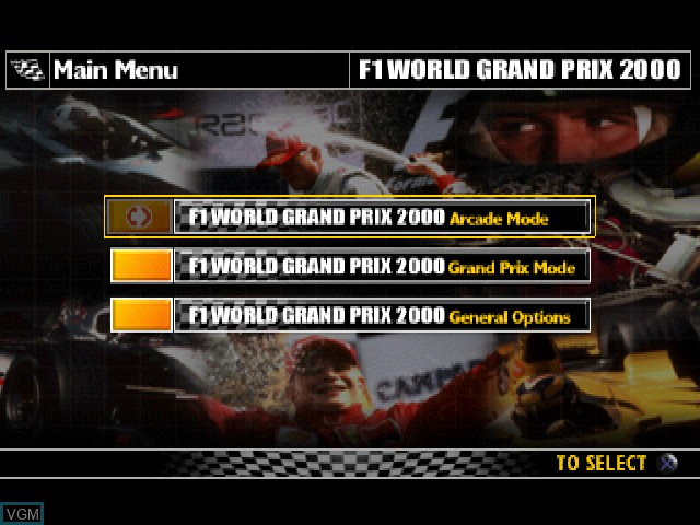 Menu screen of the game F1 World Grand Prix on Sony Playstation