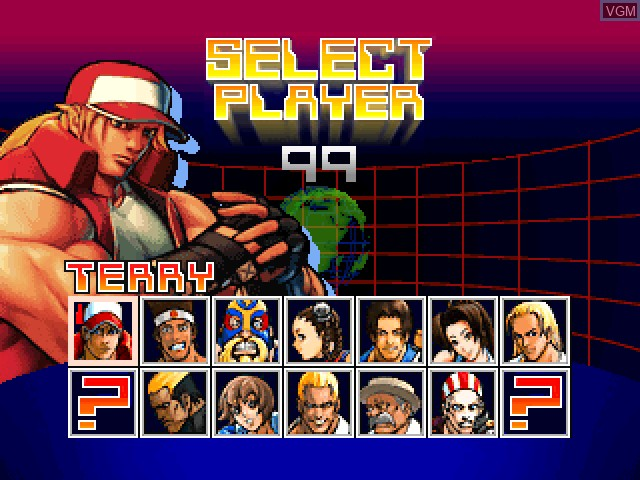 Menu screen of the game Fatal Fury - Wild Ambition on Sony Playstation