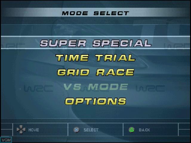 Menu screen of the game WRC - FIA World Rally Championship Arcade on Sony Playstation