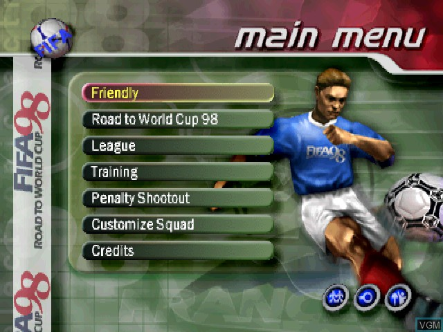 Menu screen of the game FIFA - Road to World Cup 98 on Sony Playstation