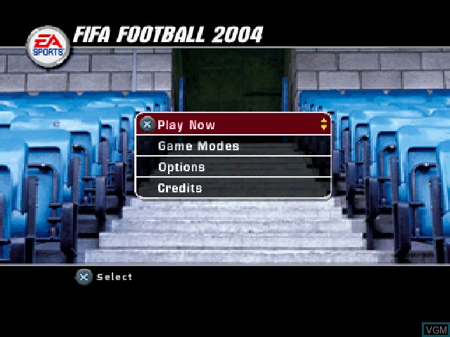 Menu screen of the game FIFA Football 2004 on Sony Playstation