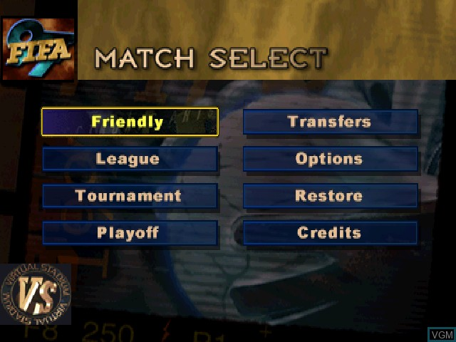 Menu screen of the game FIFA 97 on Sony Playstation
