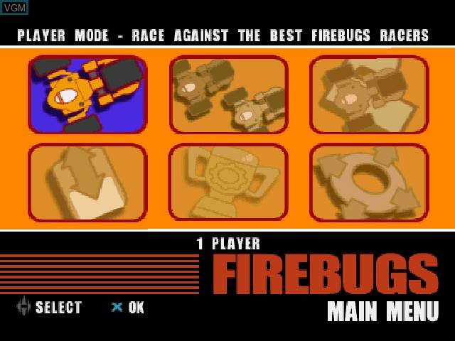 Menu screen of the game Firebugs on Sony Playstation