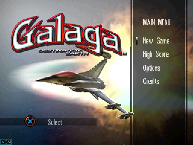 Menu screen of the game Galaga - Destination Earth on Sony Playstation
