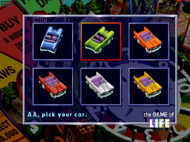 Menu screen of the game Game of Life, The on Sony Playstation