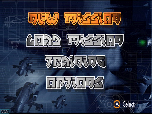 Menu screen of the game G-Police on Sony Playstation